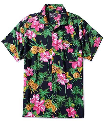 Mens Aloha Shirt Top Short Sleeve Tropical Top Hawaiian Top Black 2XL