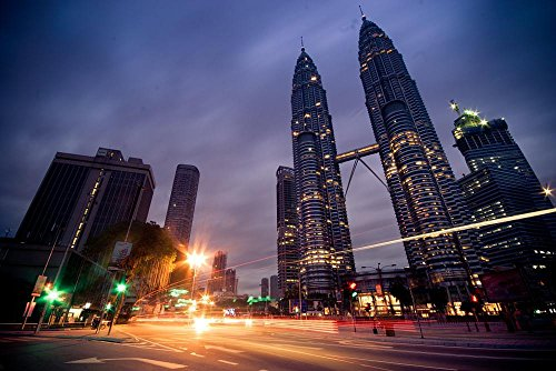 Quality Prints - Laminated 36x24 Vibrant Durable Photo Poster - Kuala Lumpur Petronas Twin Towers Malaysia Klcc Sunrise Blue Hour Light Streak Twin Tower Street Light