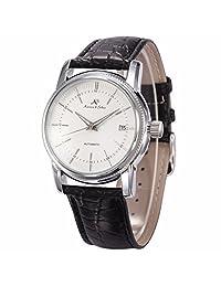 ++Canaloha:)++ KS Mens Classic Automatic Mechanical Watch Date Display Black Leather Band Wrist Watch