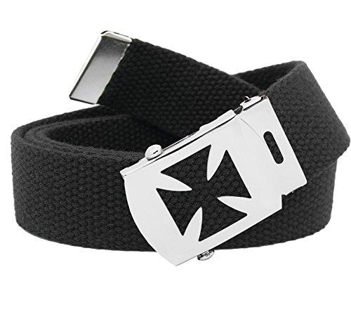 (Men's Iron Cross Military Slider Buckle with Canvas Web Belt Medium Black)