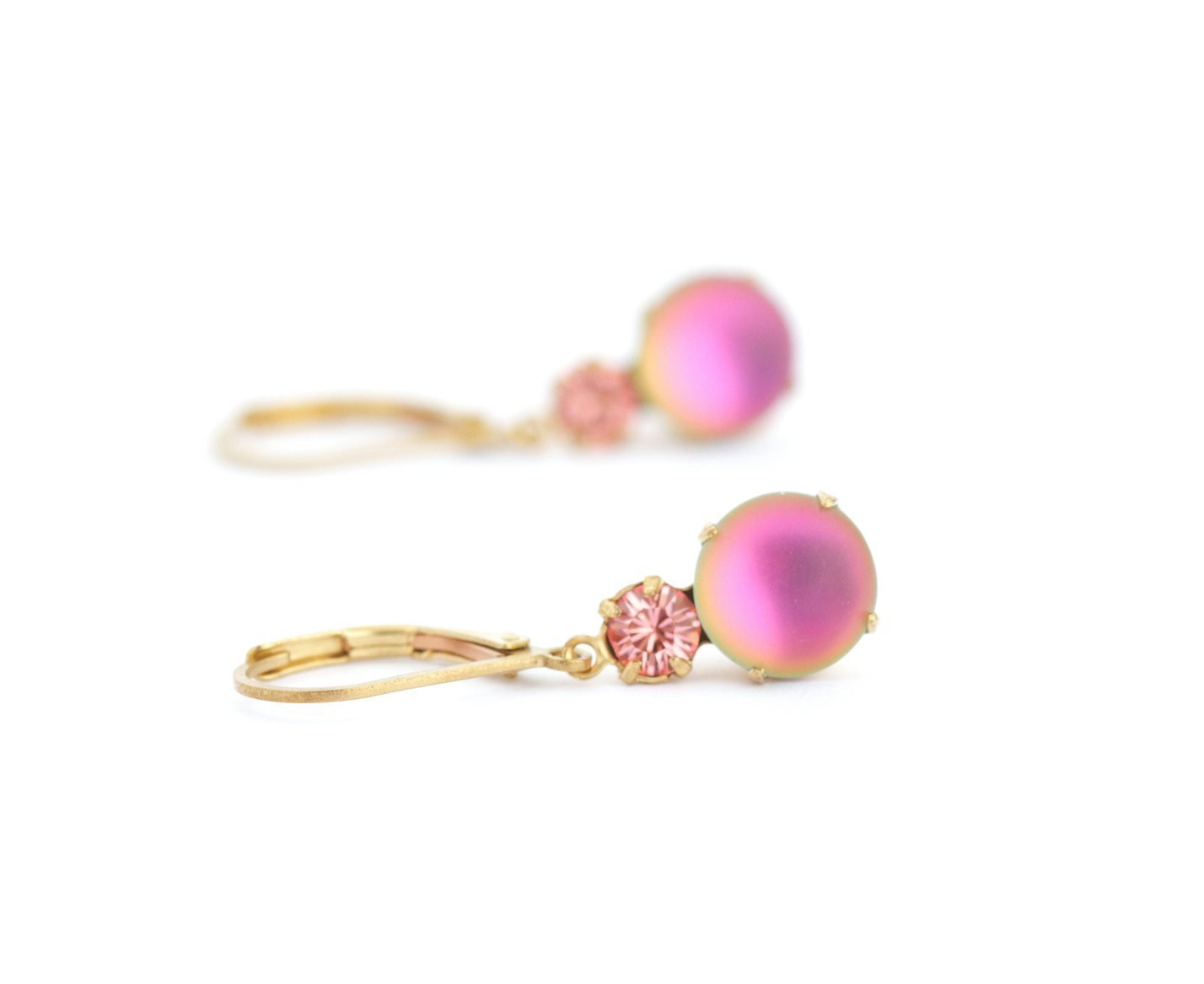 Pink Crystal Drop Earrings - Lever Back Ear Wires