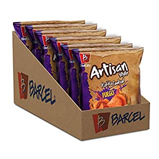 Barcel Artisan Style Kettle Cooked Chips - Crunchy Thin Cut Potato Chips – Fuego Flavor (Hot Chili Pepper & Lime), Box with 6 Bags (4 oz each)