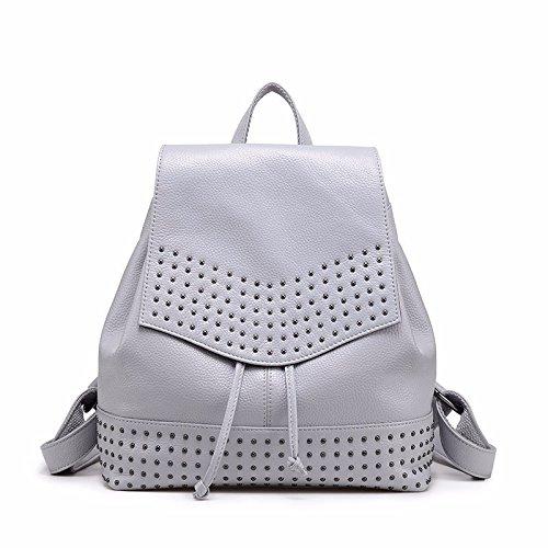 El nuevo bolso de cuero bolso de hombro Casual moda mochila de remaches,De gules Pálido