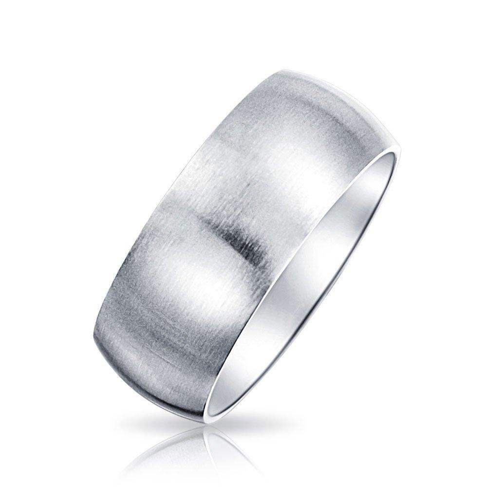 Bling Jewelry acciaio inox con finitura spazzolata nozze Unisex Anello fascia 8mm JH-R8MT