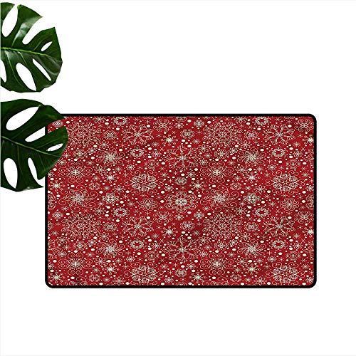 Welcome Door mat Red Filigree Style Snowflakes Durable W31 xL47