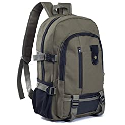 Men Casual Travel Canvas Leather Backpac...