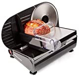 Andrew James Meat Slicer Electric Cutter for Bread & Other Food | 3 Interchangeable Blades | Plastic Pusher Blade Guard | Non-Slip Feet | 150W
