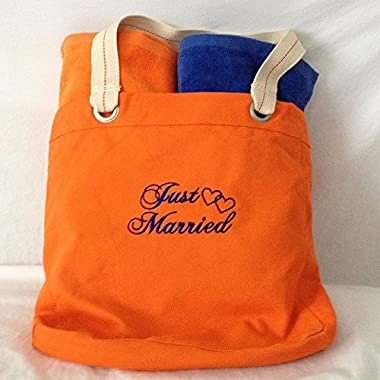 Orange & Blue Bride & Groom Beach Towels and Just Married Tote Set