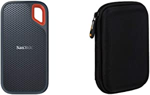 SanDisk 500GB Extreme Portable External SSD - USB-C, USB 3.1 - SDSSDE60-500G-G25 & AmazonBasics External Hard Drive Portable Carrying Case