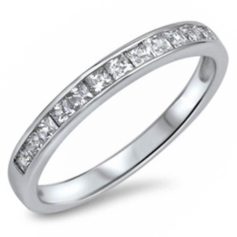 Clear Cubic Zirconia Princess Cut Eternity Band .925 Sterling Silver Ring Size 6