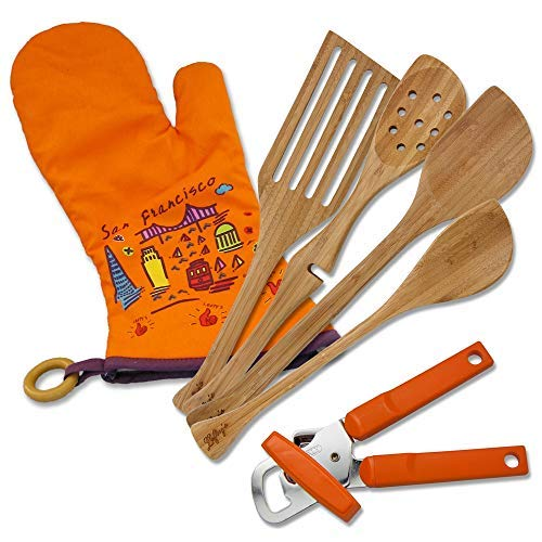 Left-handed Only from Lefty's Kitchen Tool Set Includes Left-handed Can Opener, 4 Bamboo Utensils, and Orange Mitt 6 Pcs.