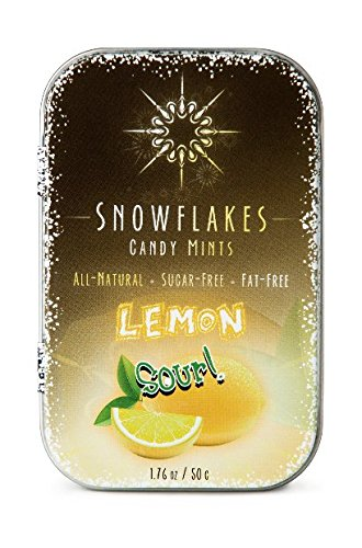 Sour Lemon Xylitol Candy Chips - Snowflakes 50g Tin - Handcrafted with ONLY 3 Ingredients | Diabetic-friendly, Non-GMO, Vegan, GF & Kosher | Purest sugar-free candy in the world! -