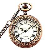 Vintage Steampunk Roman Numerals Design Quartz Pocket Watch With Chain Gift Box