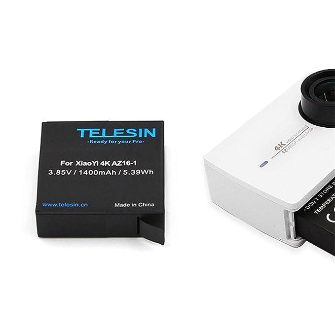 TELESIN Cargador de batería dual USB para Xiaomi Yi 4K Sport Action Camera 2