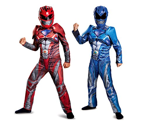Power Ranger Costume With Helmet (Mozlly Value Pack - Disguise Power Rangers 2017 Movie Muscle Red Ranger Childrens Costume - Small 4-6 AND Muscle Blue Ranger Childrens Costume - Small 4-6 (2 Items) - Item #K147025-147028)