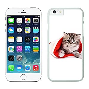 2014 Newest Small Cute Cat In Christmas Hat White Phone Case For Iphone 6 4.7 Inch