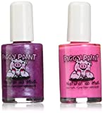 Piggy Paint [2 Color Gift Set] Non-toxic Girls Nail Polish Kit - Safe for Kids - Lollipops and Gumdrops (Bright Pink, Purple)