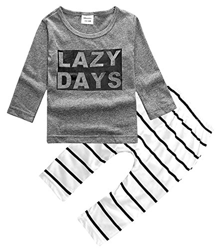 2Bunnies Baby Boy Lazy Days T-shirt Striped Pants Outfit 2 Piece Clothing Set (0-6 Months)