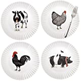 Mary Lake-Thompson Farmhouse Animals 9-inch Melamine Plates, Set of 4