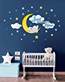 Elephant on Moon Personalized Repositionable Fabric Wall Decal for Nursery, Boy's, Girl's Room or Playroom