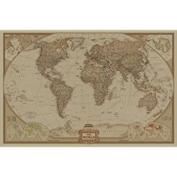 Amazon Com Sunmirror Retro World Map Antique Vintage Old Style