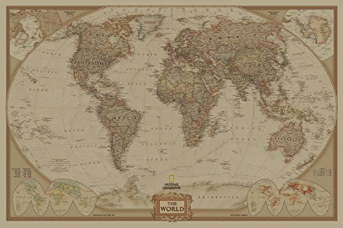 SunMirror Retro World Map, Antique Vintage Old Style Kraft Paper Educational Poster Paper Gift Wall Decor (41'' x 28'') Rolled map by SunMirror