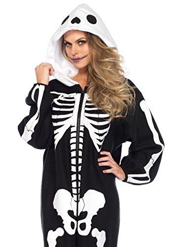 Leg Avenue Women's Skeleton Kigarumi Funsie, Black/White, One Sizes Fit Most -