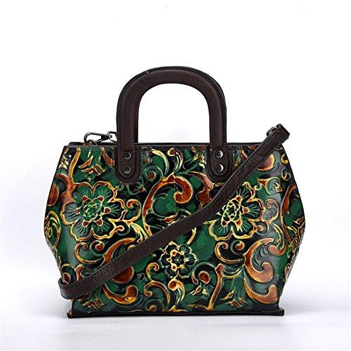 Asdflina Grande capacità Tote bag diagonale a mano vintage a mano Adatto per l'uso quotidiano (Colore : Verde) Verde