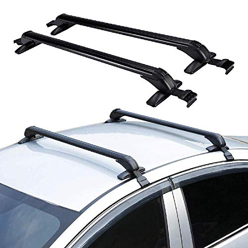 IRONWALLS 2PCS Universal Roof Racks Crossbars Cargo Load Bars Aluminum Black with Anti-Theft Locks