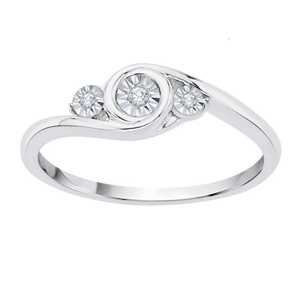KATARINA Three Stone Diamond Accent Promise Ring in Sterling Silver (G-H, I2-I3) (Size-11)
