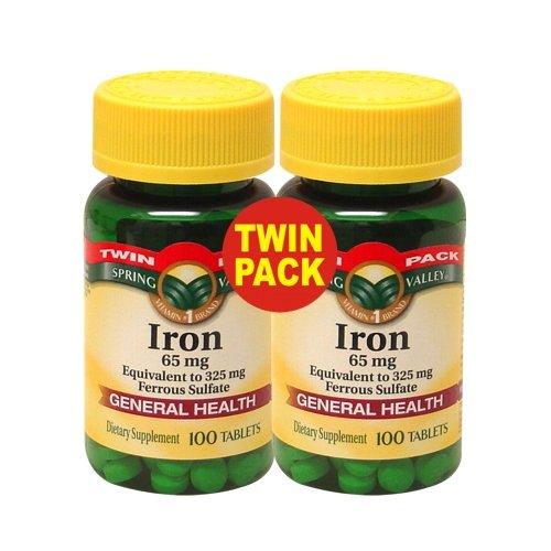 Spring Valley - Fer 65 mg, 200 comprimés - équivalent à 325 mg de sulfate ferreux, Twin Pack