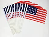 Trend Market 12 Piece Set of USA Mini Flags – Small USA Stick Flags for 4th of July, Veteran's Day, Flag Day – Flag Measures 8.5 x 5.5 Inches, Total Height Measures 12 Inches For Sale
