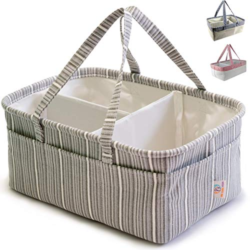 Diaper Caddy Organizer For Changing Table – Made From Natural Cotton and Polyester – Removable Dividers, Stands Up On Its Own And Reshape It – Perfect Baby Shower (Gray Diaper Caddy)