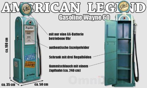 Eyepower Surtidor de gasolina turquesa retro - réplica - incl. Reloj, manguera y estantería - ancho/profundida/alto ~ 50x35x180 cm: Amazon.es: Hogar