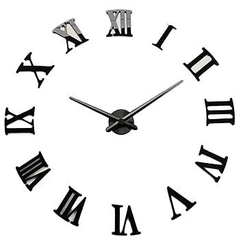 DIY - Reloj de pared 3D con números romanos de metal para decoración del hogar DIY números romanos negro: Amazon.es: Hogar