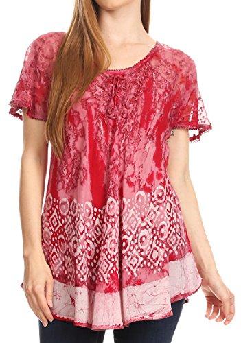 Sakkas 18706 - Sara Womens Flowy Peasant Short Sleeve Top Blouse Tie-dye Batik Embroidery - Burgundy - OS