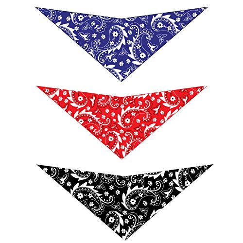 Elegant Pup Bandanas for Dogs Paisley Pack of 3 for Medium to Large Dog Pet Hankerchiefs Come in Red, Blue, and Black (Large)