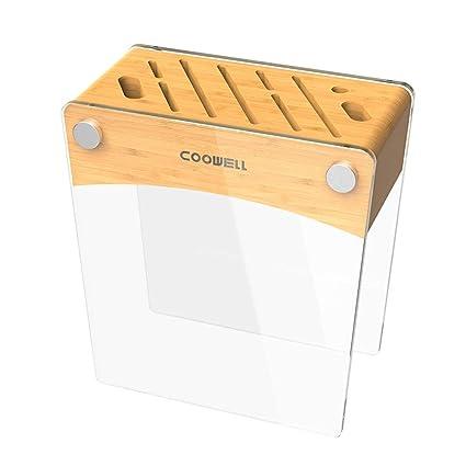 DS Rack Soporte de Cuchillo de bambú Templado de Vidrio ...