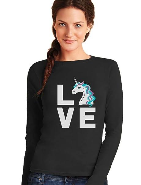 Camiseta de Manga Larga para Mujer - - Love Unicorns ...