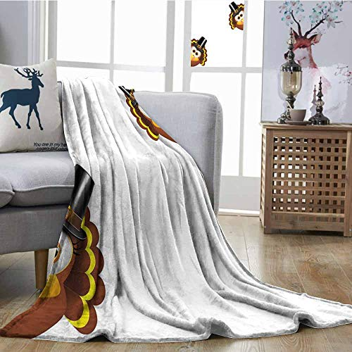 SONGDAYONE Light Blanket Turkey Travel Blanket Silly Turkey Cartoon Animal Characters with Pilgrims Hat Autumn Feast Day Brown Black Yellow W63 xL63