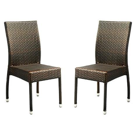 Ordinaire Safavieh Patio Collection Newbury Wicker Stackable Outdoor Chairs, Brown,  Set Of 2