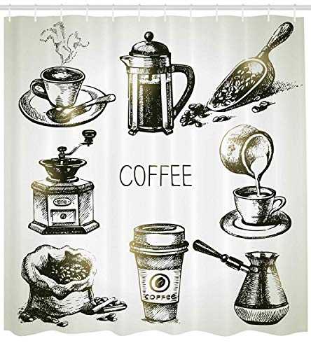 Coffee Shower Curtain Brewing Equipment Doodle Sketch Grinder French Press Plastic Cup Scoop Vintage Cloth Fabric Bathroom Decor Set with Hooks Long Yellow Black 60