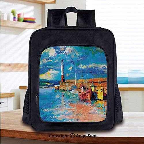 Print School Backpacks For Girls Kids Oil Painting Tones Style Lighthouse and Boats on Sea Shore Town Coastal Charm Picture Decorative Elementary School Bags Bookbag,Multicolor