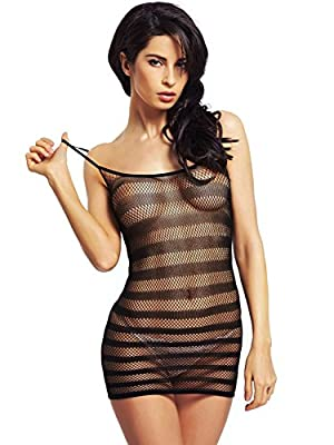 Amoretu Womens Fishnet Lingerie Striped Mini Dress Strap Chemise