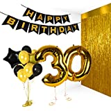 Golden Happy 30th Birthday Party Decorations with Birthday Balloons Numbers for Anniversary Gifts and Photo Booth Props Valentines Bday Foil Banner Supplies