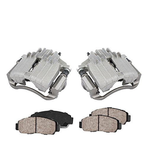 COEK01496 [2] FRONT Premium Loaded OE Caliper Assembly Set + Quiet Low Dust Ceramic Brake Pads