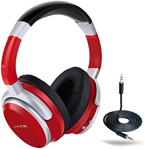 Bluetooth Over-Ear Headphone,FUGN Stereo Wireless Headset Hi-Fi Deep Bass with Comfortable Earpads,Foldable,Built-in Mic and Wired Mode Compatible with Cellphone iPhone Samsung PC TV – Red