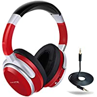 Bluetooth Over-Ear Headphone,FUGN Stereo Wireless Headset Hi-Fi Deep Bass with Comfortable Earpads,Foldable,Built-in Mic and Wired Mode Compatible with Cellphone iPhone Samsung PC TV - Red