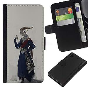 All Phone Most Case / Oferta Especial Cáscara Funda de cuero Monedero Cubierta de proteccion Caso / Wallet Case for Sony Xperia Z1 L39 // Royal Ruler Art King Outfit Attire Hairstyle Golden
