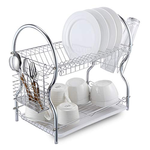 Dish Drying Rack, 2 Tier Dish Rack with Utensil Holder, Cup Holder and Dish Drainer for Kitchen, Plated Chrome ALHAKIN (Two Tier Dish)